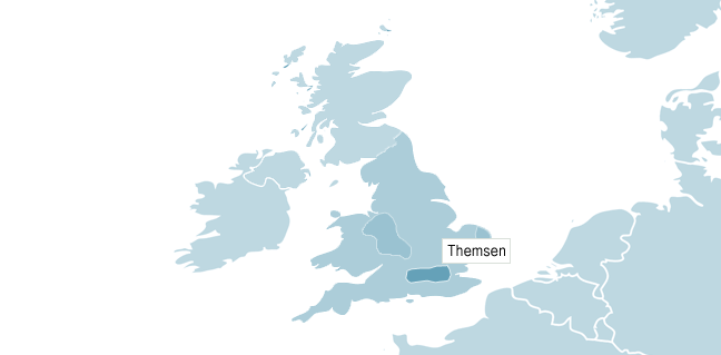 Karta över Themsen
