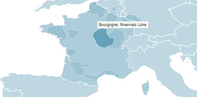 Karta över Bourgogne Nivernais Loire