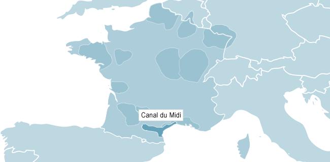 Karta över Canal du Midi