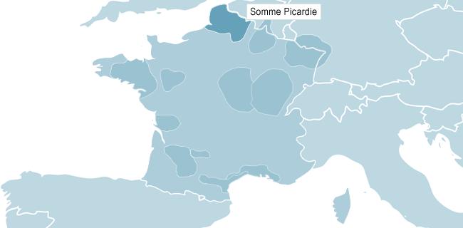 Karta över Somme Picardie