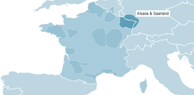 Karta över Alsace & Saarland