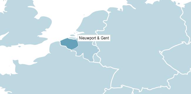 Karta över Nieuwpoort & Gent