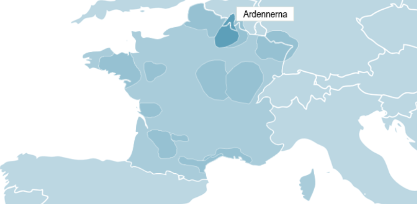 Karta över Ardennerna