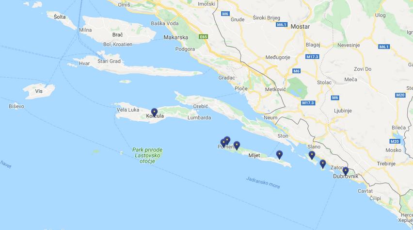 Karta över södra Kroatien