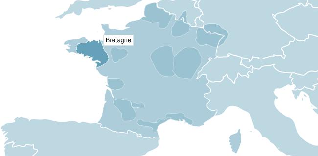 Karta över Bretagne